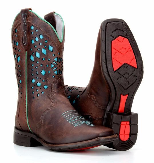 Bota Country Feminina Texana Rodeio 100% Couro Conforte 5050