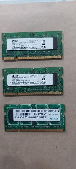 Kit 3 Memória Ddr2 6400s 1 Gb 2rx16 Smart Notebook Promoção