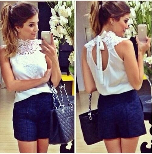 Blusa Renda Branca Sem Mangas Backless