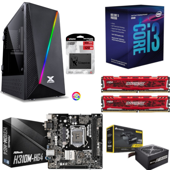Pc Pyxis Intel I3 8100 H310m Hg4 Bl 16gb Vs400 Ssd 120gb