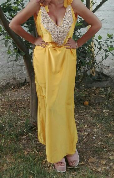 Vestido De Fiesta Largo Amarillo Bordado