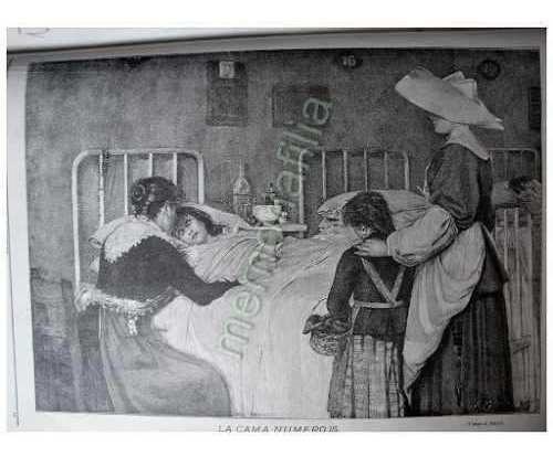 Grabado Antiguo 1898 La Cama Numero 15