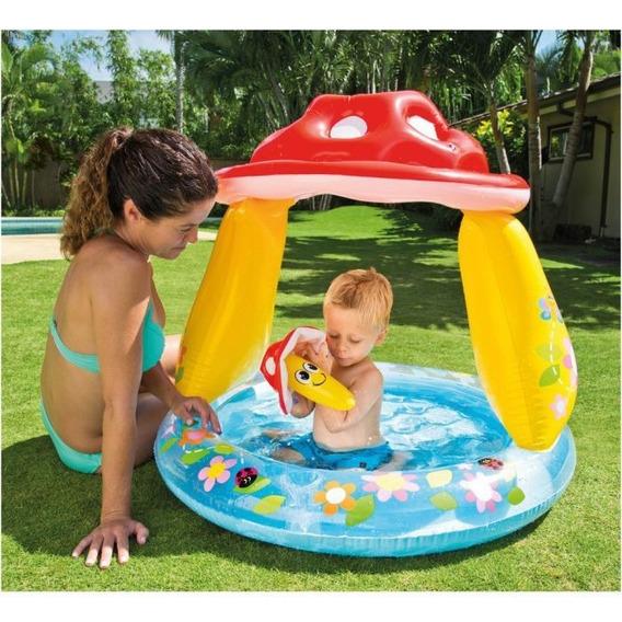 Piscina Inflável Bebê Cogumelo Com Cobertura 45l Intex 57114