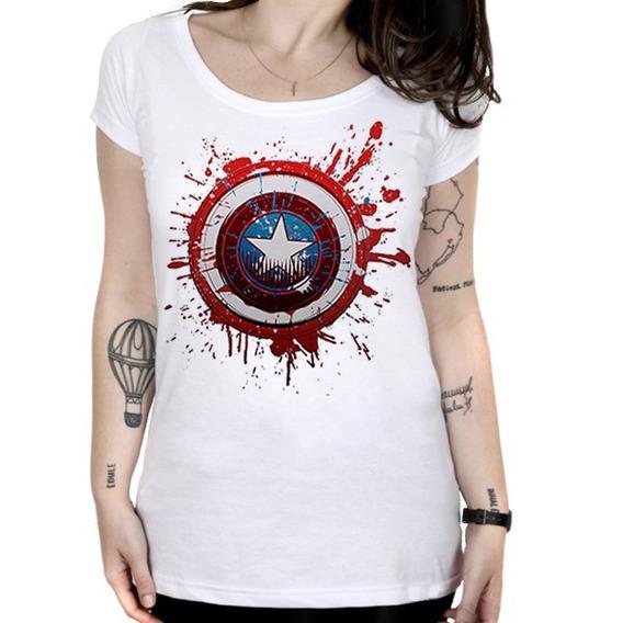 Camiseta Feminina Capitão América - Escudo Pintado