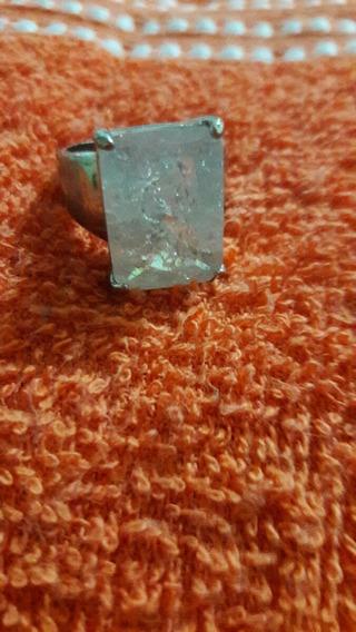 Anel Metal Com Pedra Cristal Quadrada