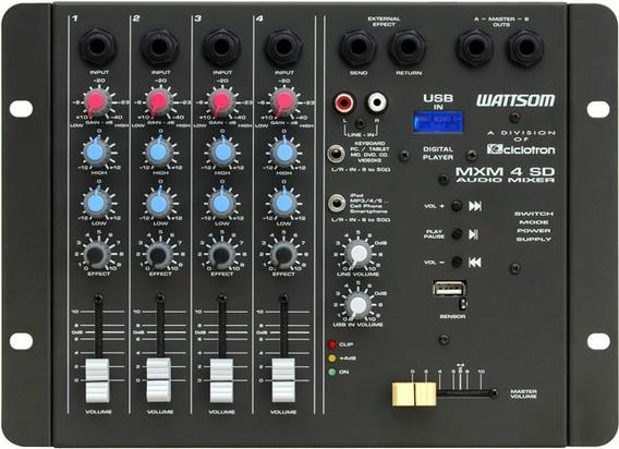 Mesa De Som Ciclotron Wattsom Mxm 4 Sd C/ Usb - 4 Canais