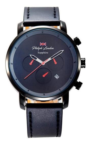Relógio Philiph London Masculino Pl80108612m Pr Safira Black