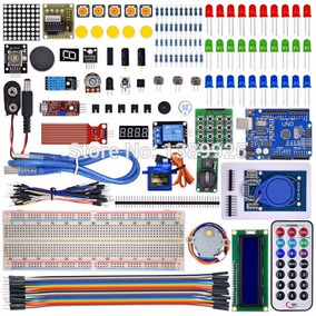 Kit Arduino Box Uno R3 Muito Completo Com Diversos Itens.