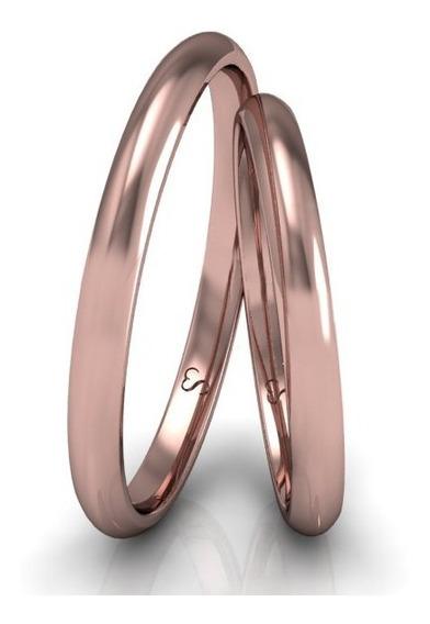 Alianças Casamento Ouro Rosê Polidas 2mm 2g