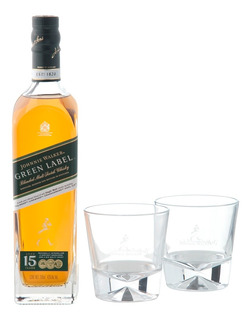 Whisky Johnnie Walker Green Label De 700 Ml+ 2 Vasos