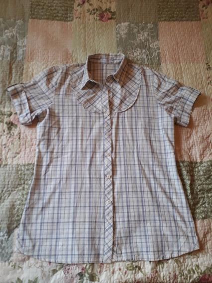 Camisa Feminina Social Quadriculada Branca E Azul G Cod 3009
