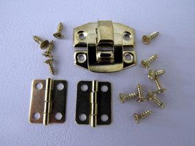 Fecho Trava E Dobradiças Metal Pequeno Para Caixa De Madeira