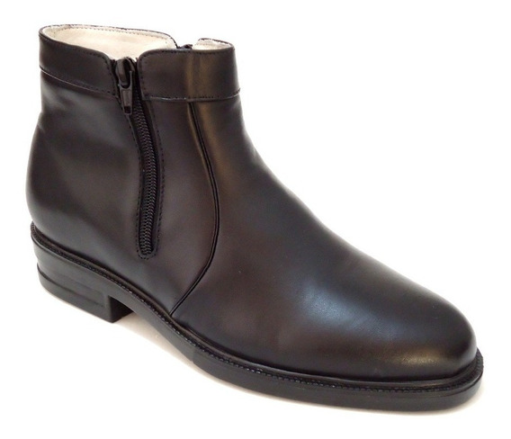 Bota Botina Sapato Masculino Em Couro Forrada Zíper Laterais