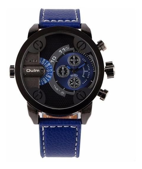 Relógio Masculino Azul Couro Oulm 3130 Promoção Barato Novo