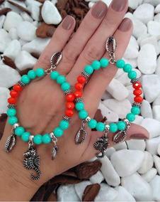 Brincos Praia Verde/coral