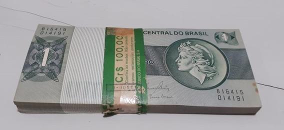 Cédulas 1 Um Cruzeiro Antigas Maço Pacote Lote De Cem Notas