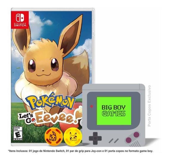 Pokemon Lets Go Eevee + Caps Grip & Porta Copos Switch