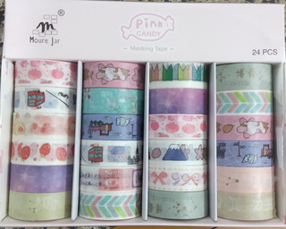 24 Fitas Washi Tape Adesiva Decorativa Artesanato Mj-43