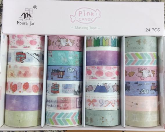 24 Fitas Washi Tape Adesiva Decorativa Artesanato Mj-43