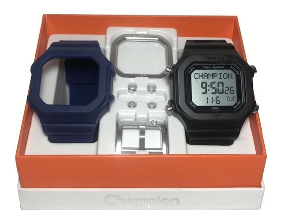 Relógio Champion Yot Original Cp40180x Preto Azul