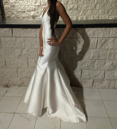 Vestido Novia Promoción O Quince Corte Sirena Tela Rasada