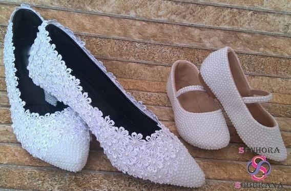 Kit Mãe E Filha. Salto E Sapatinho Branco Glamour (florista)