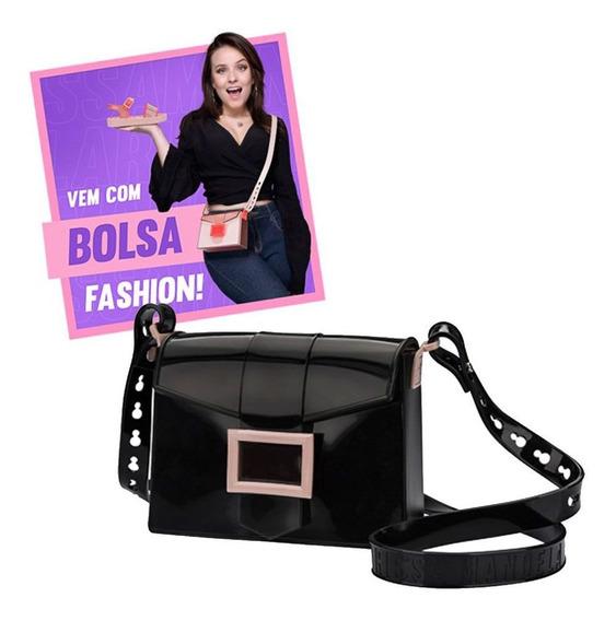 Sandália Grendene Flatform Larissa Manoela Fashion Bag Preto