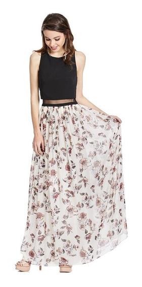Vestido Largo Floral Transparencia En Cintura Eva Brazzi
