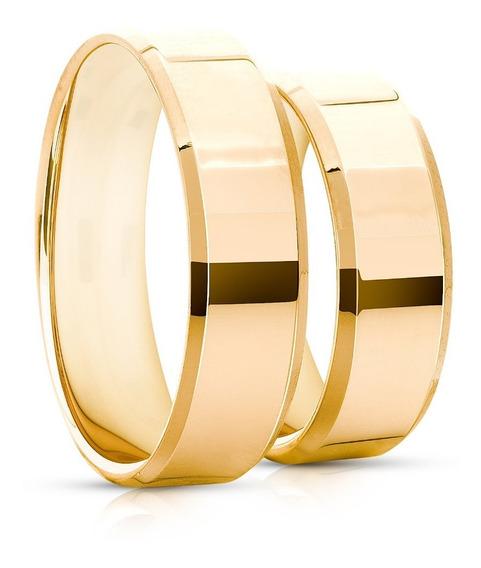 Aliança Ouro 18k Chanfrada 6mm 5 Gramas Casamento 1 Unidade