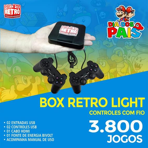 Box Retro Light - 3.800 Jogos - 02 Controles Usb