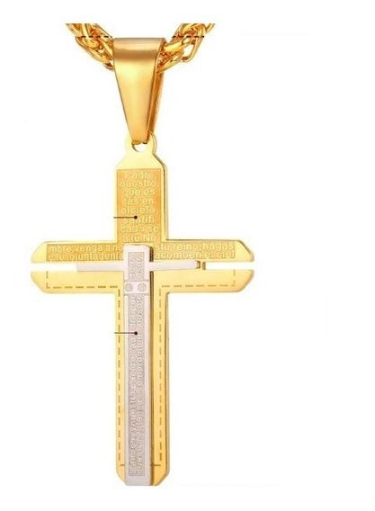 Colar Masculino Cruz Aço Inox Banhado Ouro Oração Pai Nosso