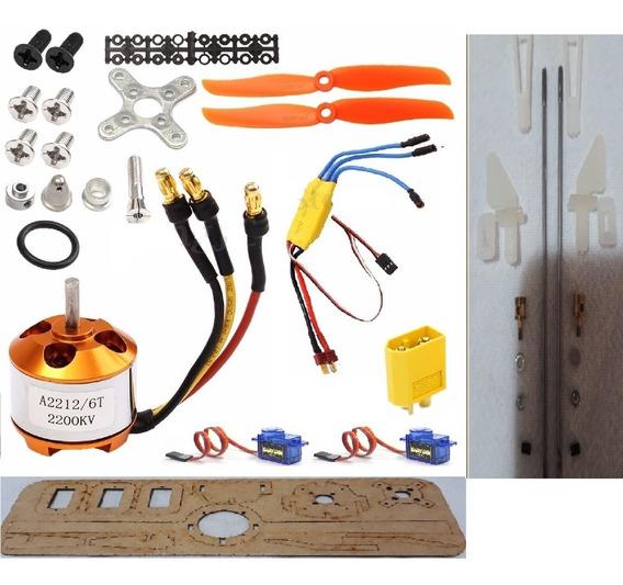 Kit Eletrônica Asa Zagi Motor Servos Esc Montante Links Horn