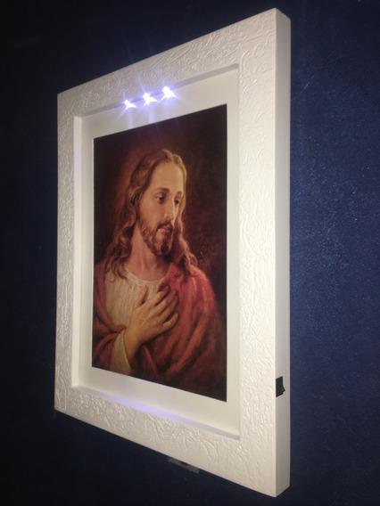 Quadro Jesus Complacência Moldura Paspatur Artesanal C/led