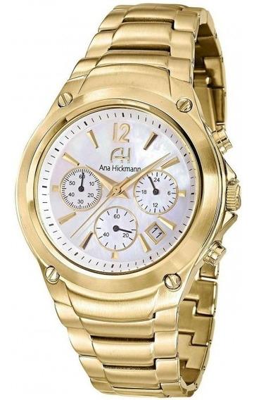 Relógio Feminino Ana Hickmann Ah30228h Dourado Cronógrafo