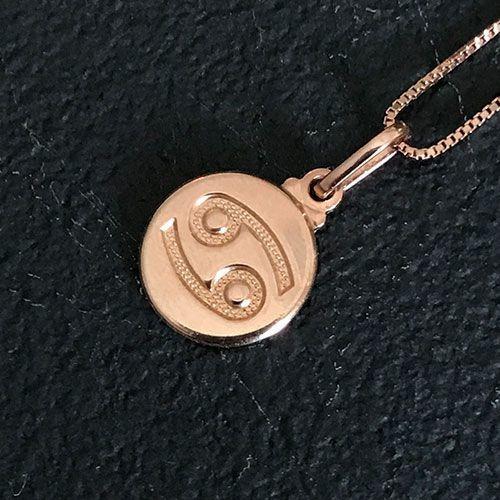 Colar Prata 925 Signo Câncer Banho Ouro Rosê