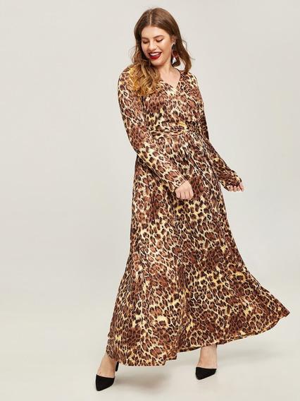 Vestido Largo Leopardo Seda Fría Shein Talle Especial 3x