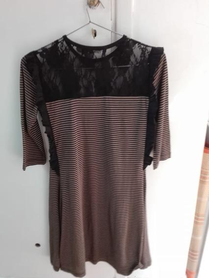 Vestido Basilotta Mujer Rayado Con Encaje Nuevo