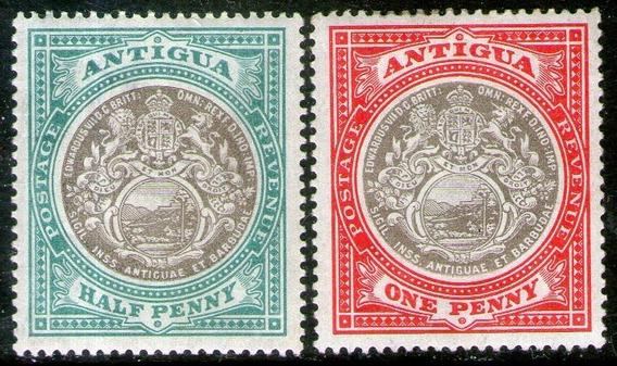 Antigua 2 Sellos Nuevos Escudo De La Colonia Años 1903-09