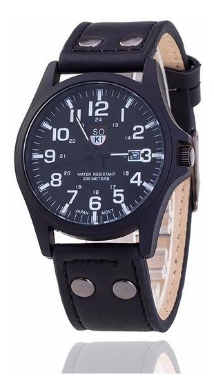Reloj Casual Acero Cuarzo Marca Soki Color Negro Con Negro