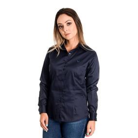 Camisa Feminina Dominique Azul Em Algodão Egípcio