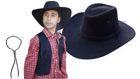 Colete Country Infantil + Camisa + Chapéu + Gravata Cowboy