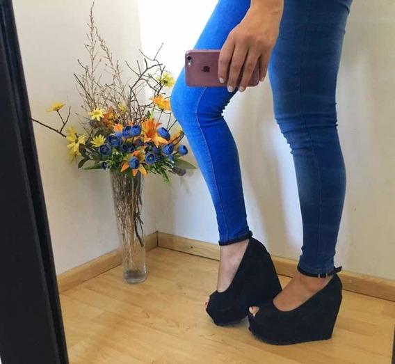 Zapatos Con Plataforma Negro De Gamuza Importados De Usa Neg