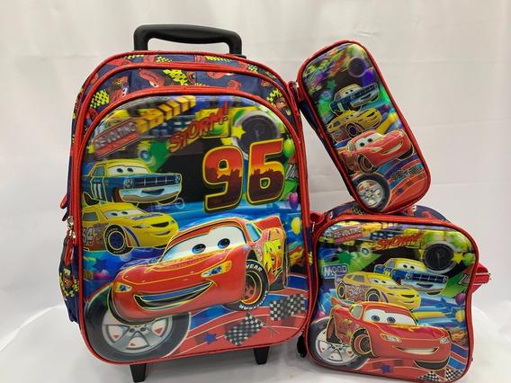 Kit Mochila Queen Carros Infantil De Rodinhas 2 Em1 6d 2019