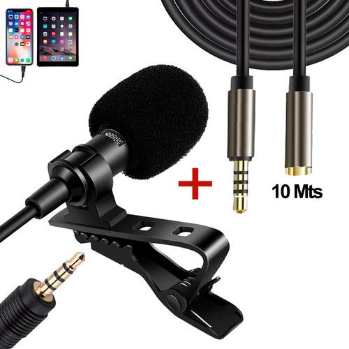 Combo Micrófono Solapa Celular + Extensión 10mts 3.5mm Trrs