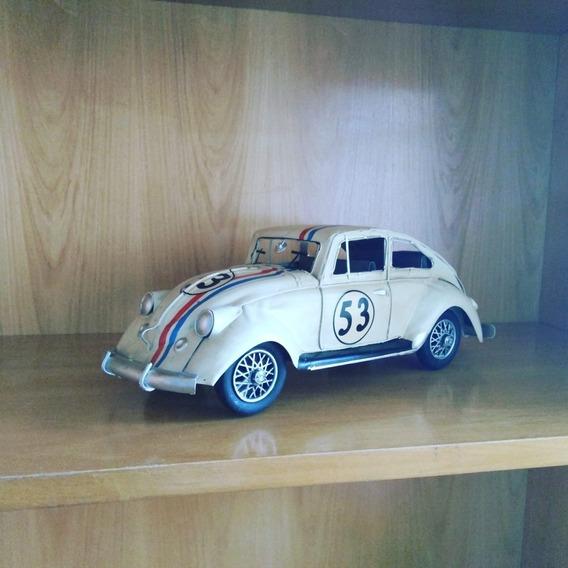 Fusca Herbie 53 Decoração Retrô 34cm Metal