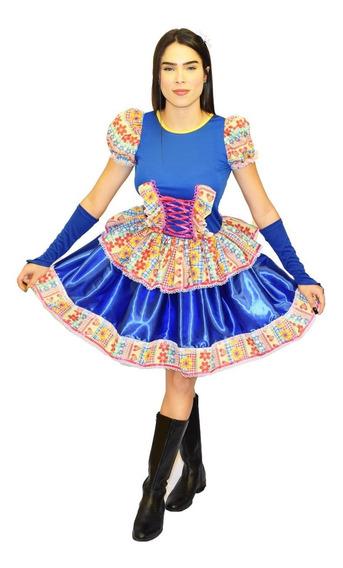 Vestido De Festa Caipira Junina Adulto Com Luva E Fitas
