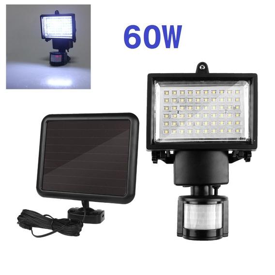 Refletor Solar 60 Led Com Sensor + Placa Solar - Kit 02 Pçs