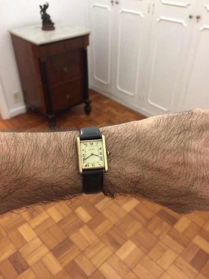Cartier Modelo Tank Prata Espessurado A Ouro Vermeil