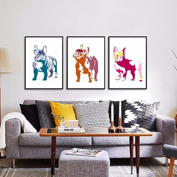 Cuadro Bulldog Frances Ilustracion Original 20x30 Mara Deco