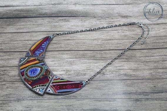 Accesorio Collar De Metal Con Tela Aguayo Y Piedras